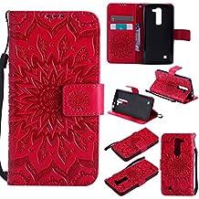 Funda LG G4c/LG G4 mini Wanxida Carcasa de Girasol de Impresión en Relieve Funda de PU Cuero Suave Carcasa Cartera con Cierre Magnético y Ranura Para Tarjetas Carcasa de Estilo Libro Delgado plegable Funda Protectora Caja de Función Soporte Para el LG G4c/LG G4 mini- rojo