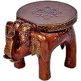 Fashion Bizz Elephant Stool Mango Wooden Coffee Table Kitchen Show Piece (Brown)