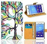 Sony Xperia M4 Aqua Handy Tasche, FoneExpert® Wallet Case Flip Cover Hüllen Etui Ledertasche Lederhülle Premium Schutzhülle für Sony Xperia M4 Aqua (Pattern 5)