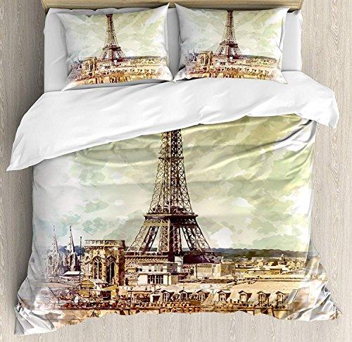 Soefipok Eiffelturm 3 Stück Bettwäsche Bettbezug Set, Pastell Aquarell Style Print Vintage Eiffelturm Skyline Pariser Thema Kunst, 3 Stück Tröster/Qulit Cover Set mit 2 Kissenbezügen, Braun Beige (Tröster Eiffelturm)