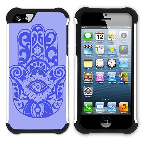 Graphic4You Hamsa Hand der Fatima Hart + Weiche Kratzfeste Hülle Case Schale Tasche Schutzhülle für Apple iPhone SE / 5 / 5S Design #1