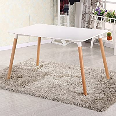 CrazyGadget Retro Design Wood Contemporary Style Table for Office Lounge Dining Kitchen - White - inexpensive UK light store.