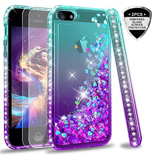 LeYi Hülle iPhone 5S / iPhone SE/iPhone 5 / iPhone SE 2 Glitzer Handyhülle mit Panzerglas Schutzfolie(2 Stück),Cover Diamond Bumper Schutzhülle für Case Handy Hüllen ZX Gradient Turquoise Purple