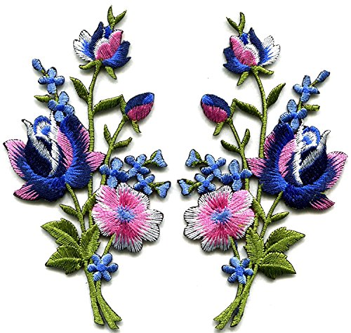 9a3589ef8b Pink blue roses pair flowers floral bouquet boho embroidered ...