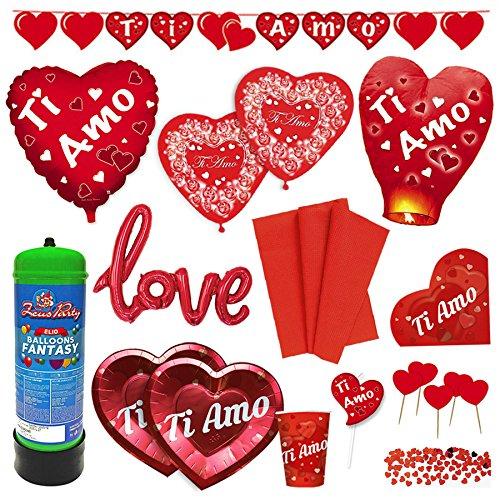 Kit n.1 coordinato completo per san valentino con bombola elio e palloncini, tovaglia, piatti, bicchieri, tovaglioli, confetti, lanterna volante, candelina e festone - anniversario matrimonio decorazioni ti amo love