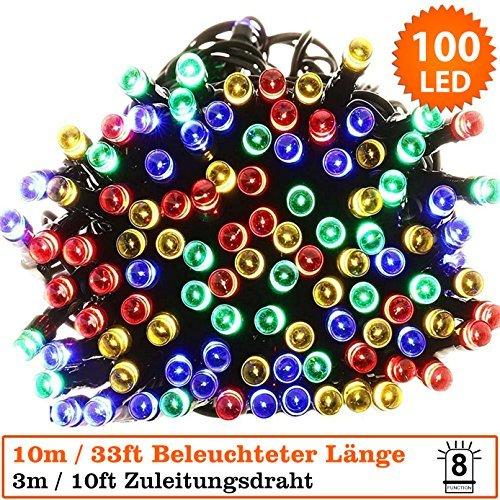 Multi Color Christmas Tree (Lichterketten 100 LED Multicolor Weihnachtliche Lichterketten - Power betrieben - ideal für Weihnachten, festlich, Hochzeit / Geburtstag Dekorationen LED-Schnur-lichterkette - Grün-Kabel)