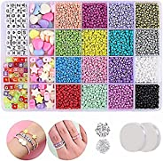 Clay Beads Flat Round Polymer Clay Spacer Beads with Pendant Charms Kit