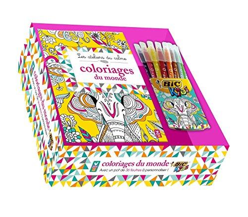 Les ateliers du calme - coloriages du monde - coffret avec 36 feutres Bic Kids