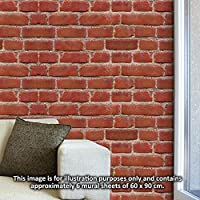 """Walplus 4WM10003 Wall Stickers """"Flexiplus Vintage Brick Wall"""" Removable Self-Adhesive Art Decal Murals Nursery Restaurant Cafe Hotel Building Office Home Decoration, Pack of 4 preiswert"""
