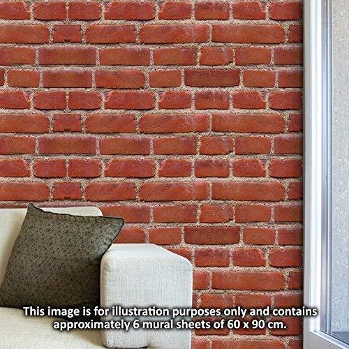 Walplus Entfernbarer Selbstklebend Wand Sticker Flexiplus Vintage Ziegel  Wand 4 Packungen Wandbild K