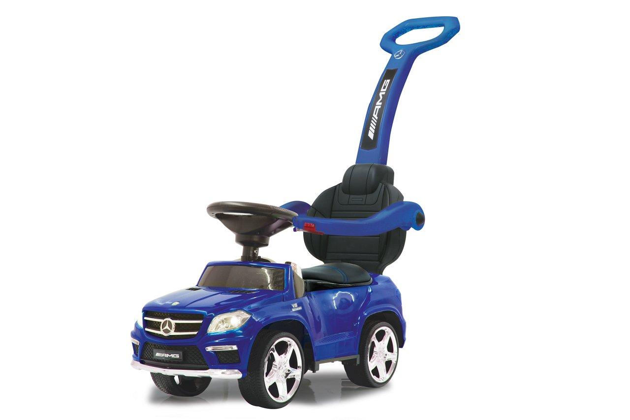 Jamara 460307 Rutscher Mercedes GL63AMG Blau 2in1 - Kippschutz, Kunstledersitz, Kofferraum, Schub- und Haltestange mit…