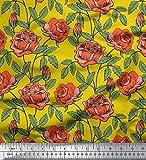 Soimoi Gelb Samt Stoff Blätter & Rose Blumen- Stoff