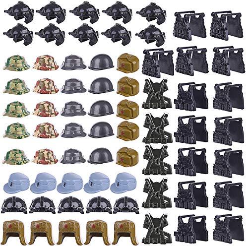 DUS 70er SWAT Custom Waffen Set Army Soldaten Minifiguren Zubehör für Kinder - 35pcs Helm + 35pcs Weste (Kinder Swat Helm)