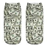ZZBO Unisex Niedliche Söckchen 3D Dollar Franc Sterling Drucken Sneaker Socken Cosy Kurze Socken Mode Fußkettchen Socken Lustige Lässige Halbsocken für Herren und Damen