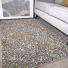 The Rug House Murano Alfombra con diseño Tonal Mezclado Moteado Color Amarillo Ocre Mostaza Dorado y