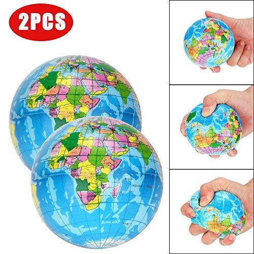 Clode®  2 STÜCKE Stressabbau Weltkarte Jumbo Ball Atlas Globus Palm Ball Planet Erde Ball (Professionelle Globus)