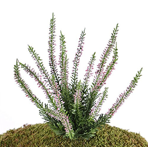 artplants Set 12 x Künstliche Erika IMKE auf Steckstab, rosa, 25 cm, Ø 18 cm – 12 Stück Heidekraut künstlich/Kunstpflanze