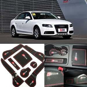 8PCS Porte-gobelet Porte intérieure Slot-Pad en caoutchouc anti-dérapant ajustement pour Audi A4L