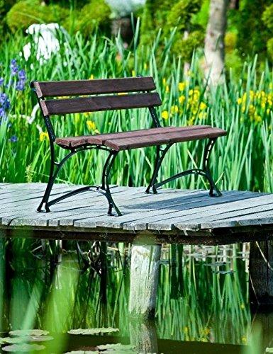 GOLD GARDEN Gartenbank mit Armlehnen TOSKANA Massivholz auf Aluminiumrahmen nussbaum in 2 Größen (150 cm - 3-Sitzer)