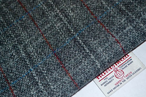 Harris Tweed Stoff 100% reine Schurwolle grau, weiß & rot Tartan Meter...