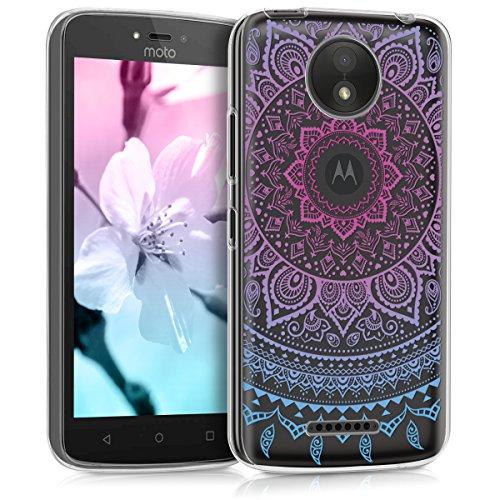 kwmobile Motorola Moto C Plus Hülle - Handyhülle für Motorola Moto C Plus - Handy Case in Blau Pink Transparent