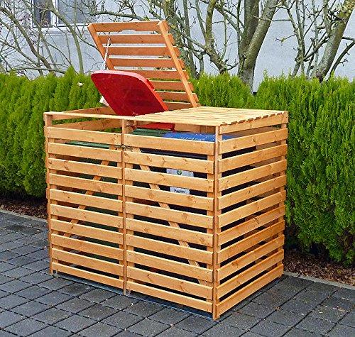 PROMADINO Mülltonnenbox VARIO V Müllbox für 2 Mülltonnen HONIGBRAUN 425/12 Holz