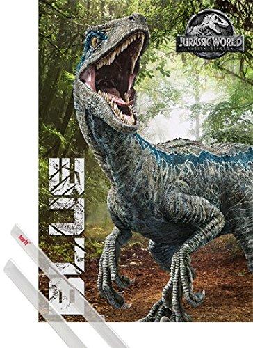 Preisvergleich Produktbild 1art1 Poster + Hanger: Jurassic World Poster (91x61 cm) Fallen Kingdom,  Blue Inklusive EIN Paar Posterleisten,  Transparent