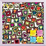 ArtzFolio Doodle Hearts 1 Printed Bulletin Board Notice Pin Board cum White Framed Painting 12 x 12inch