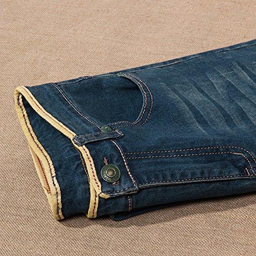 Menschwear Herren große Größen Jeans 5-Pocket Denim Strecken Stein Waschen 30-46 Blau