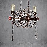 Retro Vintage Industrial Lámpara Colgante Creativo personalidad Colgante de Luz por Hotel Restaurante Bar Artes de Hierro Lámpara de Techo Rueda Lámparas de Araña Altamente Ajustable IP20 E27X2