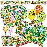 Unbekannt 68-teiliges Party-Set Tiere - Dschungel - Jungle - Löwe, Zebra, Giraffe, Krokodil - Teller Becher Servietten Tischdecke Partytüten Girlande Einladungen Trinkhalme Luftballons für 8 Kinder