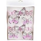 Feder 10 Stück Schmetterlinge MIX mit Clip 2 Größen Sortiment pastell