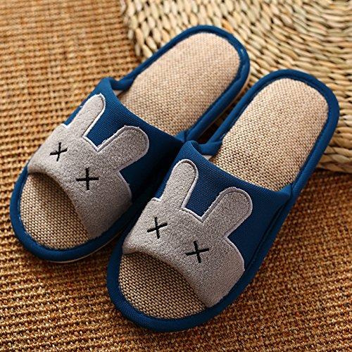 DogHaccd pantofole,Nel fresco pantofole estate home la casa del anti-slittamento pantofole coppie di spessore piano lino pantofole durante la primavera e in autunno Blu scuro1