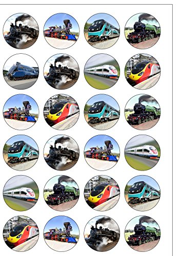 Price comparison product image 24 Precut Train Steam Diesel Electric Engine Edible Wafer Paper Cake Toppers Decorations