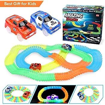 360 Pièces Circuit de Voiture Tracks Magiques Flexible HQQNUO Track Car Magic Neon avec 2 Voiture Race Car Voiture de Circuit Cool pour Enfants de 3 Ans