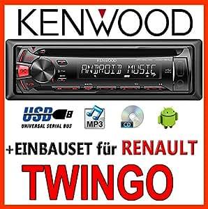 Renault Twingo 2 - Kenwood KDC-164 UR - CD/MP3/USB Autoradio - Einbauset