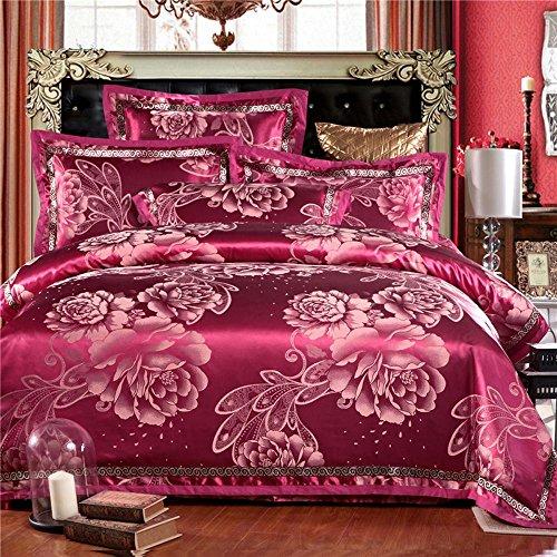 wangzhe Europeo stile Palace Bedding Sets puro cotone raso Jacquard lenzuola lusso matrimonio biancheria da letto, 4 pezzi (non includere Consolatore), Rosso, king