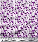 Soimoi Lila Satin Seide Stoff Quadratisch, Blätter &