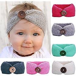 6 Piezas Bebé Bandas para la Cabeza Turbante de Punto para Recién Nacido Niña Fotografía