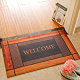 WXDD Haustür, Europäischen Eingang, Wohnzimmer, Vorraum, Küche Matte, Fußmatte, Gummi, Antirutsch Teppich Mat.-,45 x 75 cm [2.1 Jin], Braune Rasterung