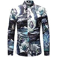 WULIFANG Camisas De Hombres Flor Grande Suave Imprimir Manga Larga Camiseta Slim Casual De Negocios De Casual De Hombres Camiseta Hawaiana Púrpura XXL