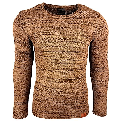 Subliminal Mode - Pull Chic Classe Fin Homme Tricot SB-13269 Petite Maille Marron