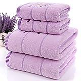 JUNHONGZHANG 3 STK. Hochwertige Luxus In Weiß Und Lavendel Baumwolle Handtuch Set Quick-Drying Hohe Wasseraufnahme Hotel Home Dekoration Geschenk, Violett