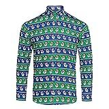Christmas Shop Herren Hemd mit weihnachtlichem Aufdruck (L) (Weihnachtsmann Blau/Grün)
