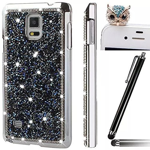 Samsung Galaxy Note 4 N9100 Smartphone Cover,Vandot 3 e 1 set Utra Thin Light Glitter Grossi Artificiale Custodia Case Cover di Protezione Skin di Hard Silicone PC - Rosa + Adorabile Kitty Gatto Spina Blu Nero