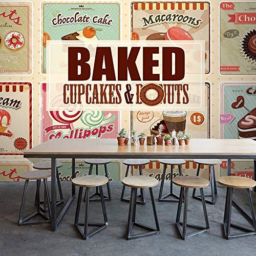 ACYKM 3D Wandgemälde Benutzerdefinierte Größe 3D Brot Kuchen Eiscreme Wandbild Küche Restaurant Hintergrund Wand Kaffee Haus Snack Bar Tapete Wandbild 350x250cm
