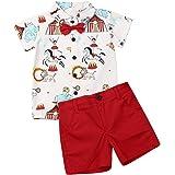 Geagodelia Conjunto Niños Bebés Verano Gentleman Camiseta de Manga Corta Pantalón Corto Ropa Bautizo de 2 Piezas Traje de Cam