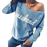 Yutila Sudaderas Mujer Invierno Elegante Camisetas Suéter Fuera del Hombro Manga Larga Jerséis Tops