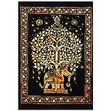 New indischen Design Golden Elefant Baum des Lebens Hippie Hippie-Poster, kleine Größe Wandbehang Poster, Größe 40x 30Wohnzimmer Wohnheim Decor Poster, Indian Bohemian Baumwolle Mandala Poster, Elefanten Mandala