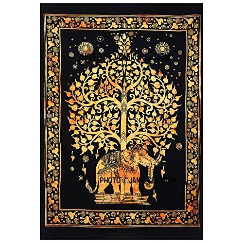New indischen Design Golden Elefant Baum des Lebens Hippie Hippie-Poster, kleine Größe Wandbehang Poster, Größe...